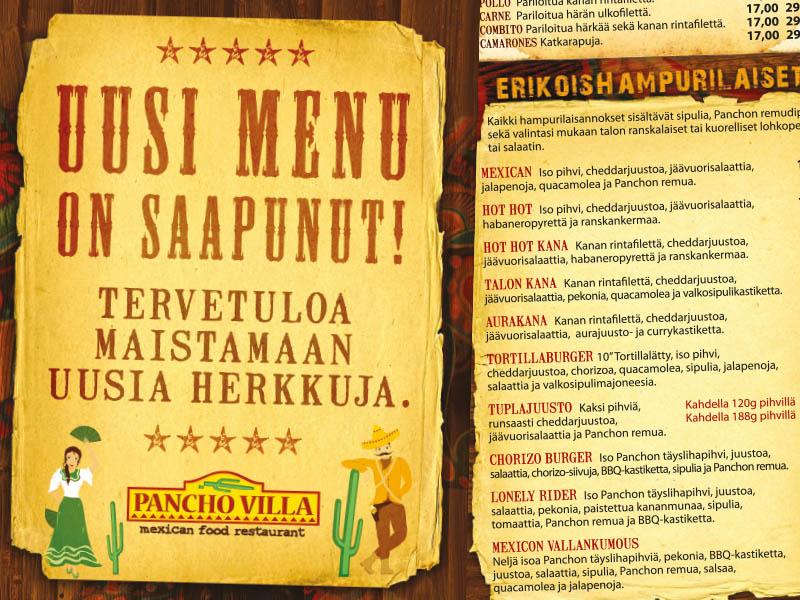 Pancho Villa vanha menu 2012