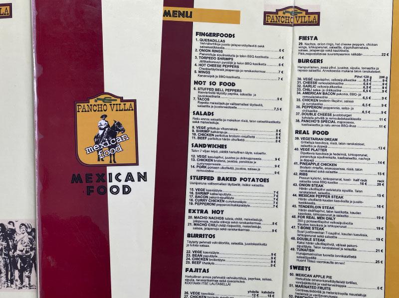 Pancho Villa vanha menu 2001