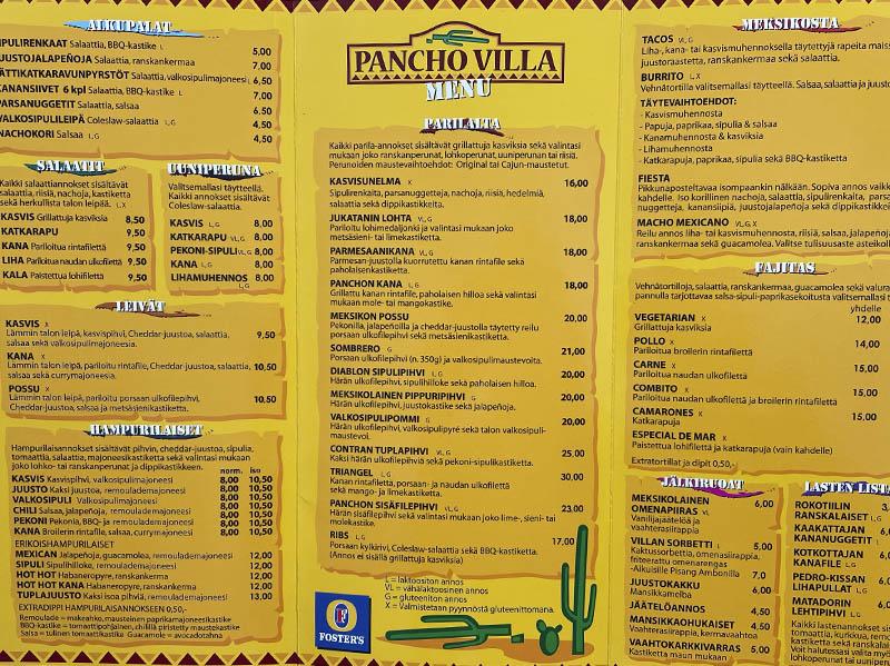 Pancho Villa vanha menu