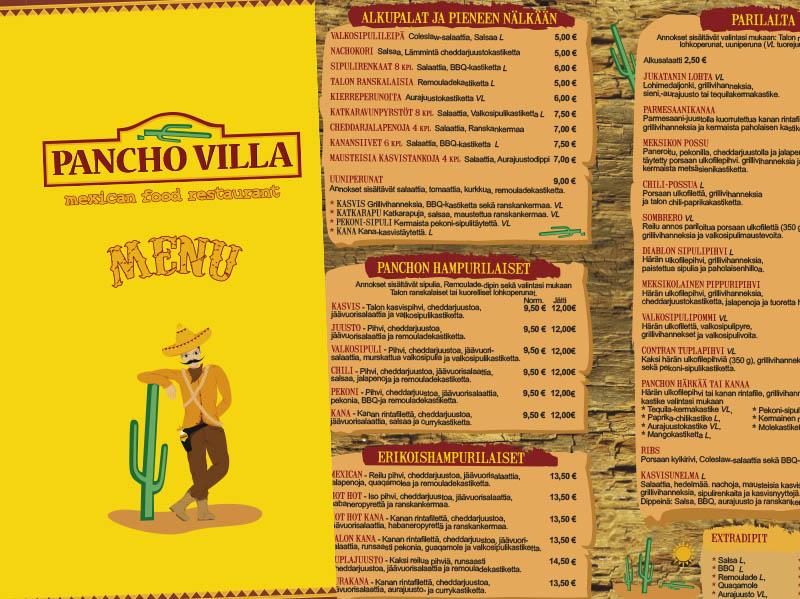 Pancho Villa vanha menu 2010